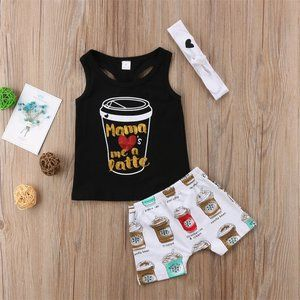 NWT Girl's Mama Loves Me A Latte 3 Piece Boutique